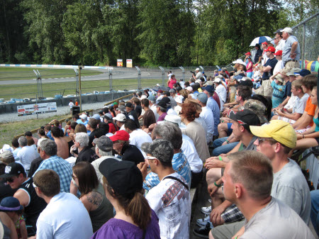 Fans fill the Turn 2 bleachers - VRCBC photo