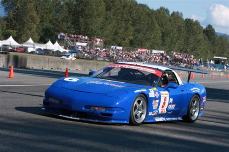 Marty Knoll brakes for Turn 1 at the Mission Raceway Road Course in the Tom Johnston Racing former Speed Vision World Challenge Corvette C5.