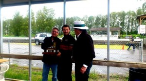 Abbotsford Trophy winner Adam Munn (middle) with Abbotsford Mayor Bruce Banman (left) and BCHMR Chairman Tom Johnston (right) - Tom Johnston photo