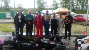 Tom Johnston with Formula Vee drivers: Tom Sproule, Al Ores, Tim Brause, Pam Williams, Gayle Baird and Adam Munn - Tom Johnston photo