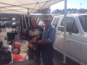 John McCoy receives the Pete Lovely Memorial Award from VRCBC President, Stanton Guy. - VRCBC photo