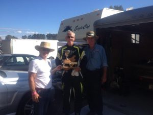 Kevin Estes receives the SCCBC Trophy from Bruce Banman (L) Honorary Starter of the First Annual Jim Latham Memorial Race and VRCBC President Stanton Guy (R). - VRCBC photo